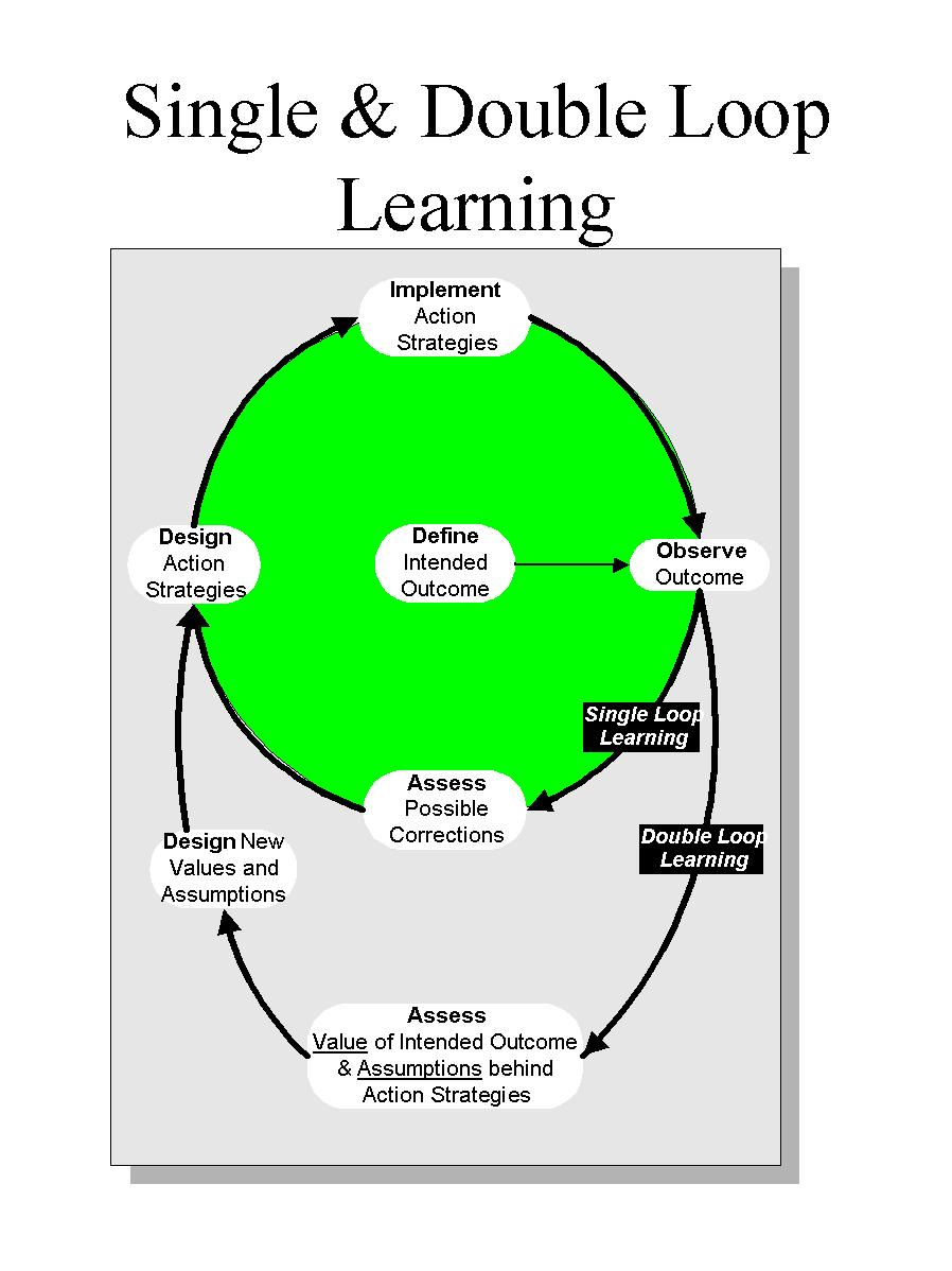 single loop learning and double loop learning Double-loop learning is an educational concept and process that involves  teaching  single-loop and double-loop learning are readily understood using  the.